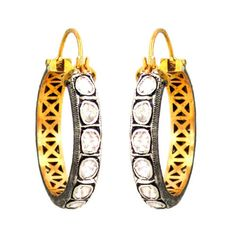 14K Gold 1.9Ct Rose Cut Diamond Hoop Earrings 925 Silver Wedding Vintage Jewelry #Handmade