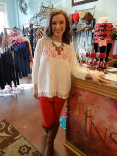 Sweater with lace detail $58, pants $24, cami $8, necklace/earring set $24