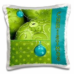 Peridot Green and Turquoise Christmas Ornaments - Pillow Case, 16 by * More info could be found at the image url. (This is an affiliate link) Diy Pillow Covers, Diy Pillows, Pillow Inserts, Decorative Pillows, Pillow Cases, Throw Pillows, Turquoise Christmas, Xmas Decorations, Peridot