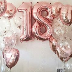 Large Size 40 Rose Gold Foil 18 Number Balloon with 18 Star Round Adul. - Large Size 40 Rose Gold Foil 18 Number Balloon with 18 Star Round Adult girl Birthday Par -