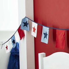 Featuring hanging flags in red, white and blue and finished with applique stars, this bunting is easy to hang and is machine washable. Kids Bedroom Accessories, Home Accessories, Bedroom Bunting, Toy Story Nursery, Baby Boy Nurseries, Soft Furnishings, Linen Bedding, Cool Stuff, Red