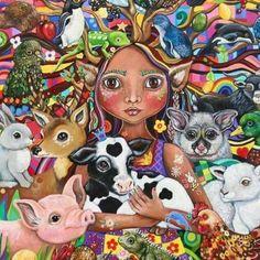 The Guardian fine art Print by Frecklepop on Etsy Painting Inspiration, Art Inspo, Vegan Tattoo, Art Aquarelle, Vegan Animals, Animal Rights, Fine Art America, Art Drawings, Fine Art Prints