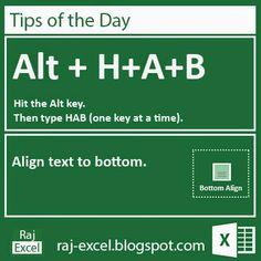 Microsoft Excel Short Cut Keys: Alt + HAB