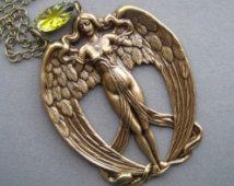 Art Nouveau Pendant - Art Nouveau Jewelry - Art Nouveau Necklace - Angel Necklace - Goddess Necklace - Goddess Jewelry - Angel Pendant