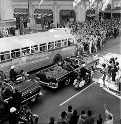 John F. Kennedy and the First Lady in downtown Dallas Nov. 22 1963. The ride ends in the President's assassination