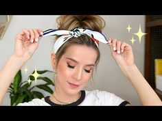 Quick hair tutorial for my messy bun + scarf and a super easy soft glam palette eye look. This look is perfect for dirty hair days of Summer. Cute Headband Hairstyles, Headbands For Short Hair, Side Bun Hairstyles, Short Hair Bun, Easy Summer Hairstyles, Heatless Hairstyles, Short Hair Styles Easy, Scarf Hairstyles, Messy Bun Updo