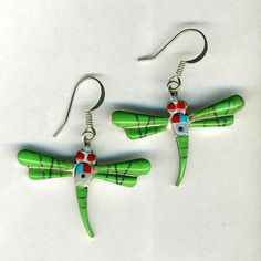 Southwest Dragonfly Inlay Green Turquoise Earrings~ Marked Sterling Silver Green Turquoise, Red Coral, Pink, Tucson Gem Show, Of Brand, Turquoise Earrings, Sterling Silver, Ebay, Ideas