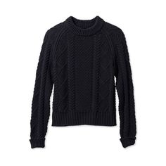 L.L.Bean Signature Signature Cotton Fisherman Sweater ($89) via Polyvore featuring tops, sweaters, cotton fisherman sweater, nautical sweater, chunky cable knit sweater, cotton fisherman knit sweater and cable-knit sweater