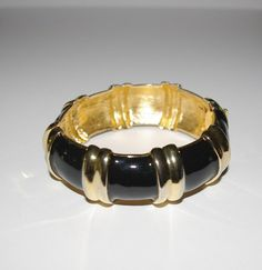 Joan Rivers Wide Bangle Bracelet Hinged Black by SCLadyDiJewelry
