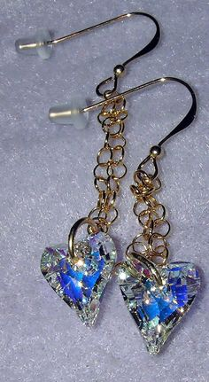 14kt GF Swarovski Crystal Clear AB Heart Earrings by dsmenagerie, $24.99