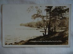 Camp Grounds at lake Margrethe, Grayling, Michigan Real Photo Postcard, 1936 can