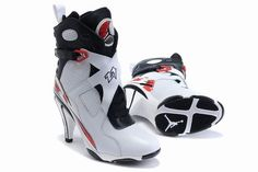 Jordan Shoes Womens Air Jordan 8 High Heels White Black Red Boots [Womens Air Jordan 8 Boots - White and black leather upper with perforated detailing on the side. The lacing system is under the cool straps printed with white number Red accents on Jordan Heels, Air Jordan Shoes, Jordan Boots, Jordan Sneakers, Nike Air Jordan 8, Nike High Heels, High Heel Jordans, Shoe Boots, Shoes Heels