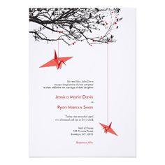 Beautiful Origami Hanging Paper Cranes Wedding Invitation