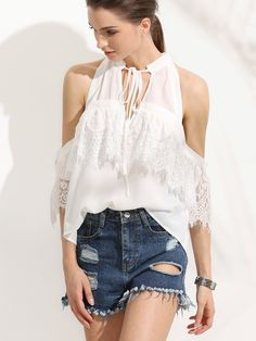 8.89$  Watch here - http://diwf7.justgood.pw/go.php?t=3744 - White Tie Neck Cold Shoulder Lace Blouse