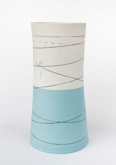 Ali Tomlin - Tall waisted vase duck egg & white H36cm