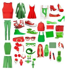 """""""Red and green"""" by cutiepiecelia on Polyvore"""