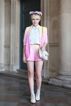 loving this ombre shorts-suit  LFW street style
