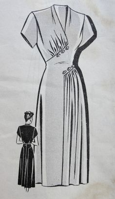 1940s FLATTERING DRESS PATTERN GRACEFUL DRAPING, V NECKLINE, TOTALLY ELEGANT DESIGN