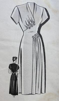 1940s FLATTERING DRESS PATTERN GRACEFUL DRAPING, V NECKLINE, TOTALLY ELEGANT DESIGN