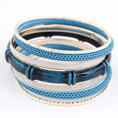 (0) 2013 New Fashion Euro American Pop Bamboo Metal Multilayer Bangle Bracelet 5Colors Factory Price 222,24 руб.