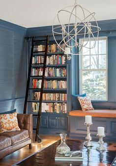 Cory Connor Design - dens/libraries/offices - blue den, blue grasscloth, blue grasscloth wallpaper, blue wainscoting, den wainscoting, home ...