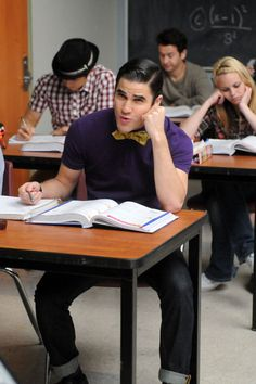 """Blaine in Glee Season 3, Episode 16: """"Saturday Night Glee-ver""""  Speaking of Blaine, which of the classic Saturday Night Fever tunes do you think he'll take on?"""