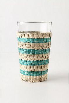 Aqua & white striped basket