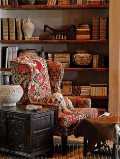 Love this chair (and the puppy) in this vignette with southwest-looking accessories and books