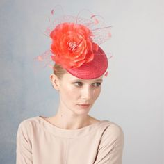 April- Medium Straw Cocktail Hat with Feather Flower by Jane Taylor Millinery