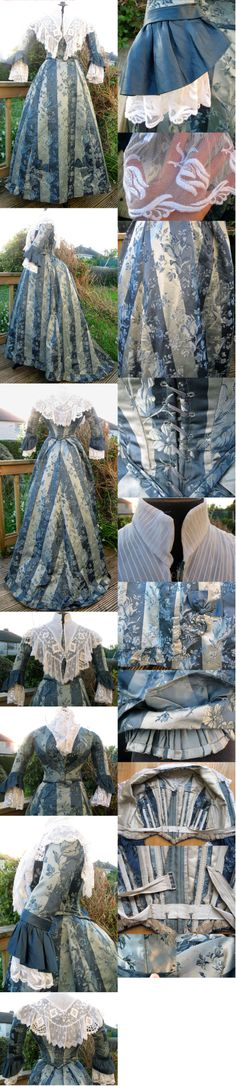 Striped Brocaded Satin Bustle Reception Ball Dress Gown 1888. From ebay seller madaboutfans.