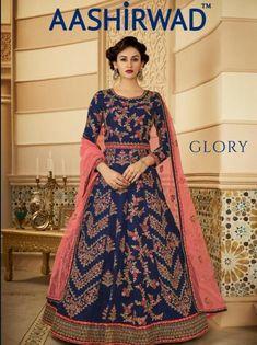 22fe5d3fc0 Aashirwad Creation Glory Heavy Designer Silk with Embroidery Handwork Long  Anarkali Style Wedding Salwar Kameez at Wholesale Rate