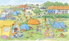 Praatplaat Bas - Camping  (Getekend door Dagmar Stam)