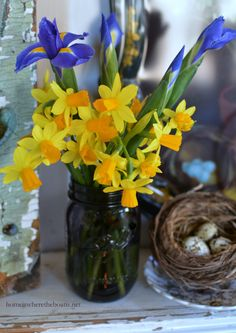 Iris and daffodils in Purple Ball Heritage Collection  Jars | Home is Where the Boat Is