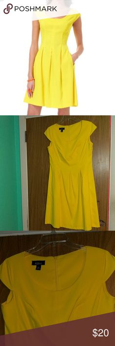 Yellow dress 10 petite yellow dress Sleek and sophisticated  Looks like brand new Great condition! AGB Dresses Midi