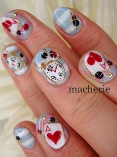 Cute alice in wonderland nailsManufacturer over 12 years #NEWAIR #NAIL ART #sun@newair-nail.sina.net #
