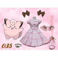035 Clefairy Lolita by meiki on Polyvore featuring moda, We Love Colors, Peggy Li, pokemon, lolita, clefairy and lolita fashion