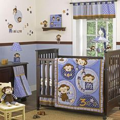 The Monkey Mania crib quilt has playful monkeys in a cute color scheme that is perfect for your new baby boy!