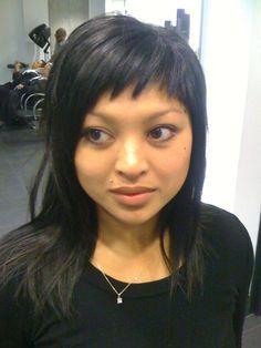 short choppy bangs long hair. i can't believe i'm looking at bangs again.