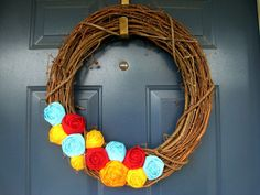 The Rowan - Fabric Rose Grapevine Wreath - 18 inch - Made to Order