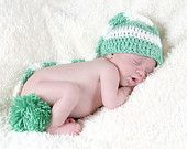 Photo Prop Idea...Crochet Elf Hat -- Baby Crochet Hat for BOYS or GIRLS -- Newborn Photo Prop --  CUSTOM You pick size and colors