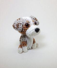 Australian Shepherd Red Merle Amigurumi Stuffed Animal Crochet Dog Doll  / Made to Order