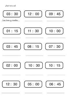 Aprender las horas en infantil y primaria: Fichas con ejercicios para aprender y practicar las horas. Relojes para aprender las horas Time In Spanish, Middle School Spanish, Spanish 1, Spanish Class, Spanish Teacher, Teaching Spanish, Spanish Worksheets, Yearbook Covers, English Resources