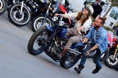 Brittney Olsen and her vintage flat track Harley (Photo: Vicki Smith/Gizmag.com)