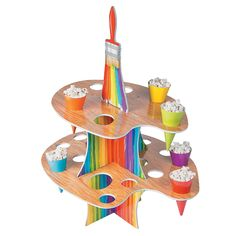 Artist Party Treat Stand (holds 24 treat cones which are included) Paint Party Supplies Tween Party Games, Princess Party Games, Bridal Party Games, Engagement Party Games, Halloween Party Games, Princess Birthday, Sleepover Party, Princess Sofia, Artist Birthday Party