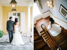 William Aiken House Wedding // Bride and Groom photos // Bride walking down the stairs // Aaron & Jillian Photography