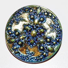 Gold and Bluel Czech Glass Button Large Iridized by bellavetro