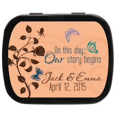 Our Story Personalized Wedding Mint Tins | Spring Wedding Favor