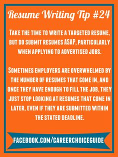 Resume Writing Quick Tip   Take The Time You Need To Write A Targeted,  Professional