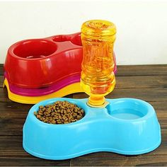 Cheap Portable Pet Feeder Plastic Dual Port Automatic Feeder Water Drinking Feeding Bowls For Cats Pet Dogs Without Bottle Suministros de mascotas Pet Online, Automatic Feeder, Canned Heat, Dog Feeder, Food Bowl, Water Dispenser, Pet Bowls, Dog Harness, Pets