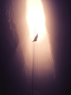 """Forget about the glowworms and get ready for some insane adventures, like this 100m rappel into the """"lost world"""""""